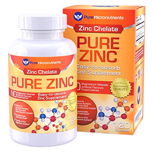 Pure Micronutrients Zinc Supplement, Natural Zinc Glycinate Supplements, (Chelated) 25mg, 120