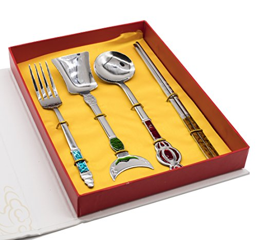 Genubi-4PCS Chinese Oriental Style Journey to the West Portable Flatware Knife Fork chopsticks Spoon Tableware Set 410 Stainless Steel Dinnerware Silver with Travel Box