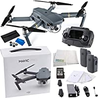 DJI Mavic Pro Collapsible Quadcopter Drone Essentials Videographer Bundle Includes Remote Controller, Intelligent Flight Battery, 8330 Folding Propellers, 16GB microSD Card, Micro-USB Cable & More