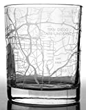 RESSCU San Diego Map, Rocks Glasses Set of 2, Unique Gifts, College Town Etched Glasses