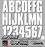 STIFFIE Uniline White SUPER STICKY 3'' Alpha Numeric Registration Identification Numbers Stickers Decals for Sea-Doo SPARK, Inflatable Boats, RIBs, Hypalon/PVC, PWC and Boats.