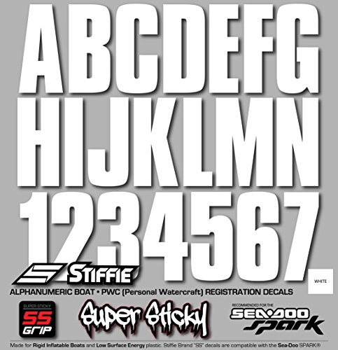 """STIFFIE Uniline White SUPER STICKY 3"""" Alpha Numeric Registration Identification Numbers Stickers Decals for Sea-Doo SPARK, Inflatable Boats, RIBs, Hypalon/PVC, PWC and Boats."""