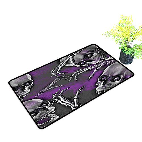 Large Outdoor Door Mats Scary Creepy Spooky Happy Smiling Skeleton with Boned Hand Art Print Purple Grey Use for Entrance Outside Doormat Patio W39 x H15 INCH ()