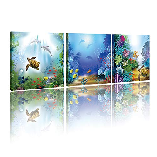 (HVEST Sea Turtle Canvas Wall Art-3 Panels-Dolphin Fish and Coral Reef Under Deep Sea Artwork Ocean Painting for Bedroom Bathroom Living Room Decor,Stretched and Framed Ready to Hang,16x16inches x3pcs)