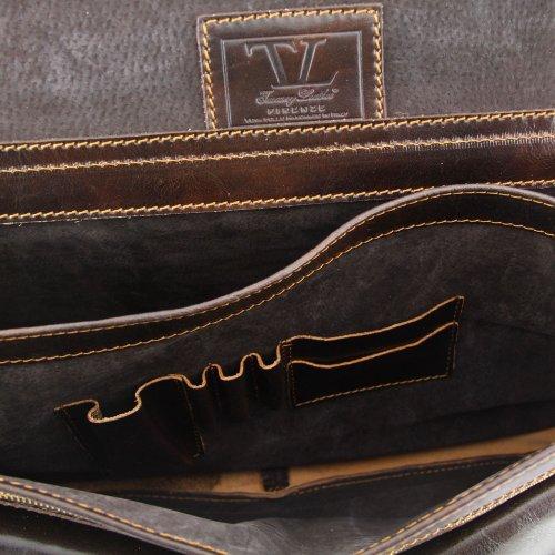 Tuscany Leather - Besace cuir - Marron foncé - Homme