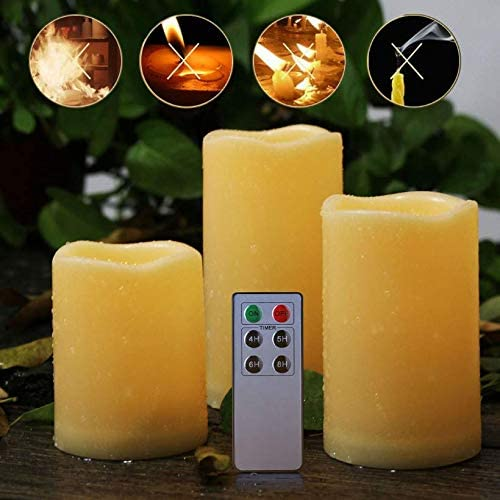 Enido Flameless Candles, Water Resistant Candles Set of 3 H4 5 6 x D3 Outdoor Indoor Candles Ivory Battery not Included