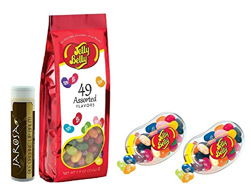 Jarosa's Gift Set of Jelly Belly BigBean Dispenser - Pack of 2 with 49 Assorted Flavors Jelly Beans 7.5 oz. & a Jarosa Bee Organic Natural Chocolate Bliss Lip (Automatic Jelly)