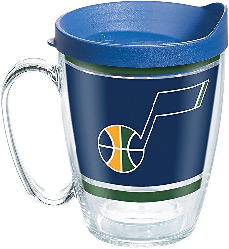 (Tervis 1266529 NBA Utah Jazz Legend Tumbler with Wrap and Blue Lid 16oz Mug, Clear)