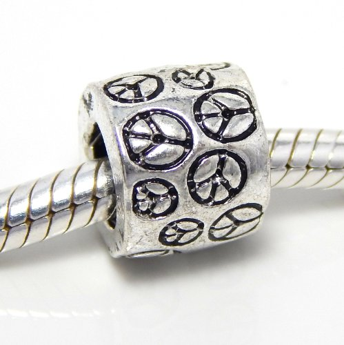 Pro Jewelry Peace Signs Bead Compatible with European Snake Chain Bracelets - Girly Pandora Bracelet Charms