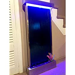 """Jersey Home Decor Wall Waterfall XL 46""""x22"""" Stainless Steel Wall Fountain,Blue Mirror, Color Lights Remote Ctrl Sale"""