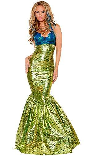 Disfraz de sirena para mujer con aspecto mojado dorado y azul, para Halloween, adulto