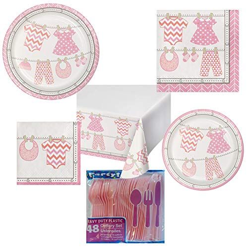 Baby Shower Paper Luncheon Plates - Baby Girl Shower Party Pack Decoration Plates Napkins Table Cover Set Serves 16 – Luncheon & Dessert Paper Plates, Napkins, Table Cover, Cutlery – Disposable Party Supplies for Food and Cake