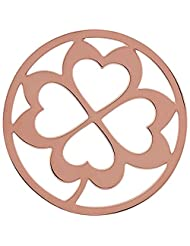 MS Koins Stainless Steel Coin 4 Leaf Clover Rose Gold Plated Fits Our Coin Locket System, 30mm Diameter