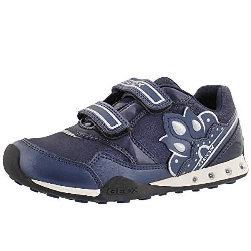 Geox Girls' New Jocker Dual Strap Athletic Sneaker Navy 30 M EU