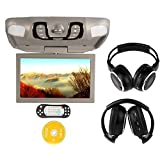 """Ouku Gray Grey Digital 15.6"""" -Inch Flip Down Monitor Overhead Video Audio Roof Mount Ceiling and Car DVD player with Wireless FM Modulator/IR Transmitter/USB/SD/Games+Free Pair of Wireless IR Headphones 2PCS Headsets"""