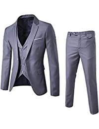 Men's Fashion Casual Slim Fit Suit 3-Piece Business Jacket Vest &Pants