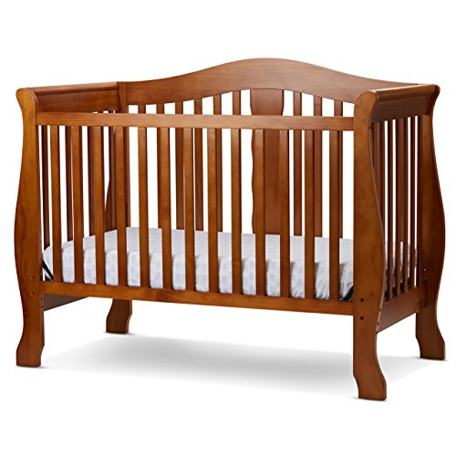 LA Baby Avalon 4 in 1 Convertible Crib, - Pecan Crib 1