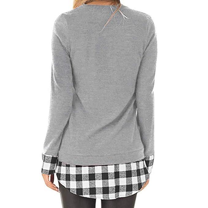 0f2de04ac5bb5 Yvelands Camisa de impresión a Cuadros para Mujer
