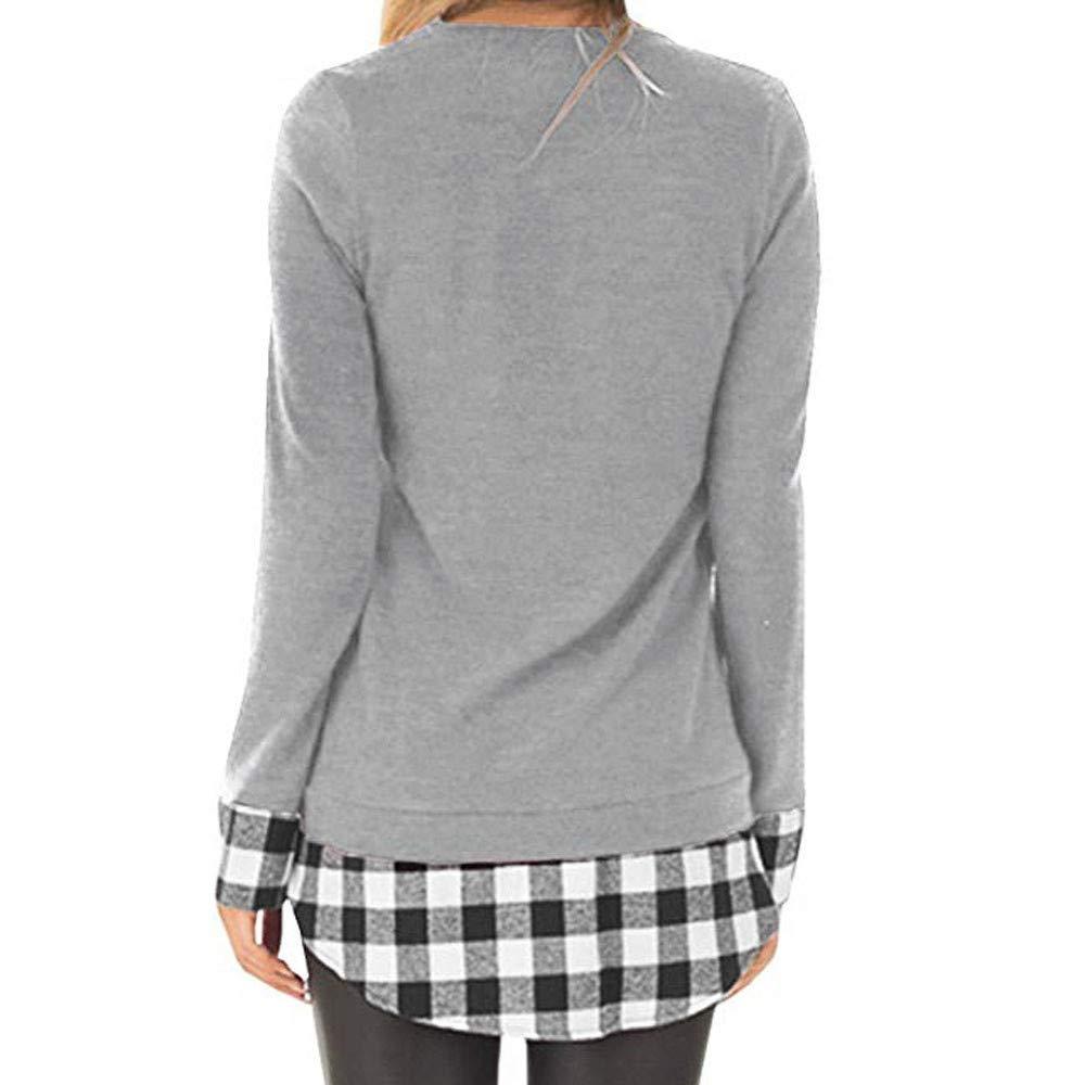 Fossen Mujer Manga Larga Camiseta de Cuadros Blusa Camisa de Moda Casual 2018: Amazon.es: Ropa y accesorios