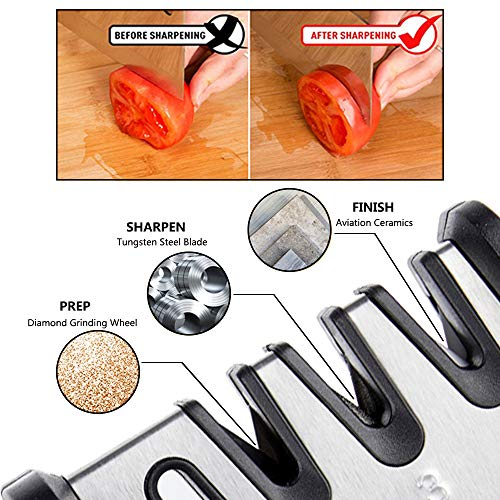 Professional Kitchen Knife and Scissor Sharpener, 4 Stage Professional Manual Sharpening Tool can Help to Repair, Restore, and Polish Blades