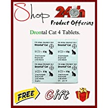 Bayer Drontal All Wormer for Cats, Roundworms, Tapeworms, Hookworms for Cats 4 Tablets
