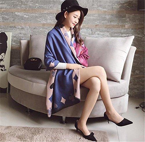 ZHANGYONG Spessore caldo inverno sciarpa cashmere sciarpe scialli inverno lungo tutti femmina-femmina match 190cm*65cm,Jujube red Rosa Blu