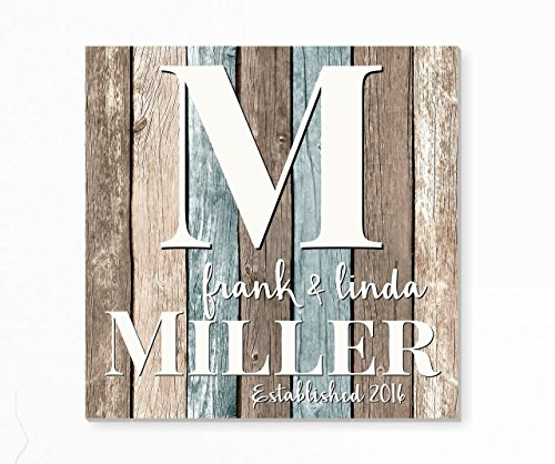 Rustic Personalized Family Name Sign Pallet Wood Monogram Wood 16x16 -