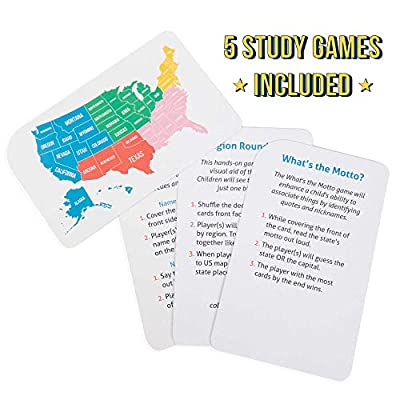 States & Capitals Flash Cards for Kids – 50 American State Cards + 9 Learning Games – USA Facts, Capitals, Nicknames, Geography, History, Mottos & Trivia – Memorization, Studying & Teaching Tool: Toys & Games