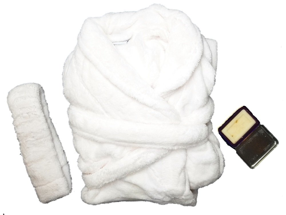 Martha Stewart Gift Boxed Plush Bath Robe with Hand-milled Luxury Scented Soap in a Decorative Turkish Tin (White)