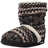Muk Luks Women's Holly Scrunch Boot-Blk/Neutrl Slipper, Black, Medium (7-8) M US