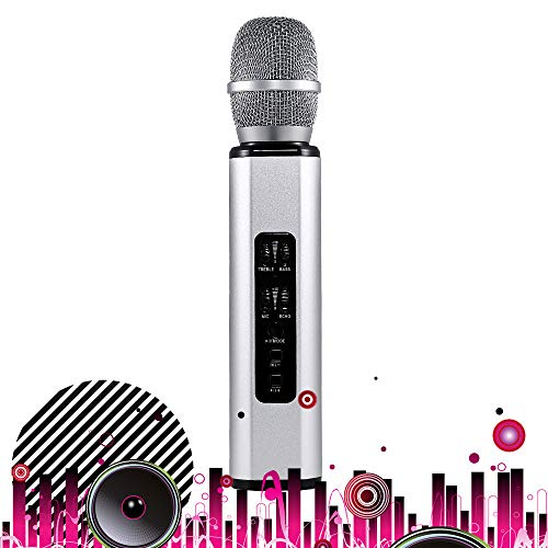 SHENGY Double Horn Heart-Shaped Pickup Microphone, Adjustable Sound Bluetooth Stereo Karaoke, Reverb Sound, Intelligent Noise Reduction, Support Various Systems,Silver