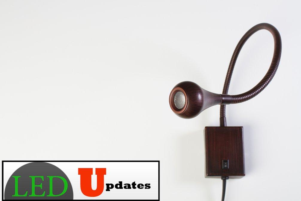 LEDupdates Gooseneck bedside reading LED light wall mounted bronze finish white light