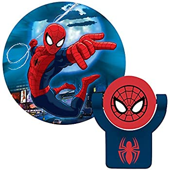 Projectables 13341 Ultimate Spider-Man LED Plug-In Night Light, Red and Blue, Collectors Edition, Light Sensing, Auto On/Off, Projects Marvel Comics ...