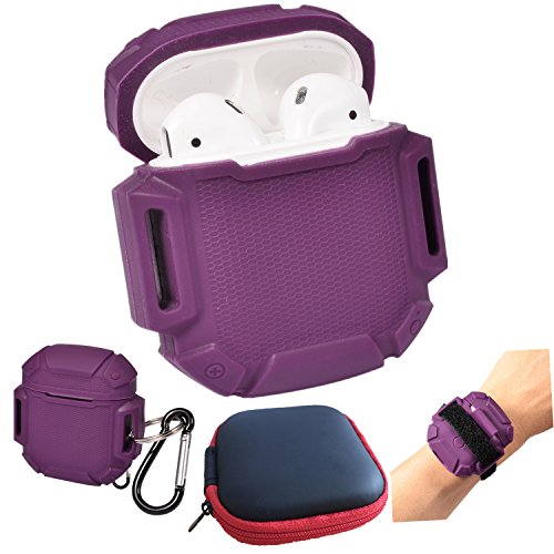UOSOSO AirPods Case Protective Silicone Cover and Skin with Carrying Bag Travel Case for Apple Airpods Charging Case (Purple)