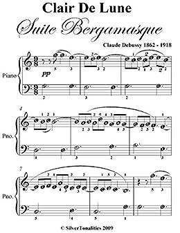 Clair de lune from Suite Bergamasque - easy version - Piano