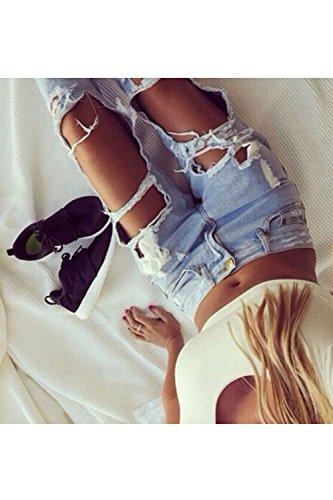 Jeans Pantaloni I Denim A Strappati Tempo Donne Pieno Afflitto Buco Blue Le qxY1BaXn