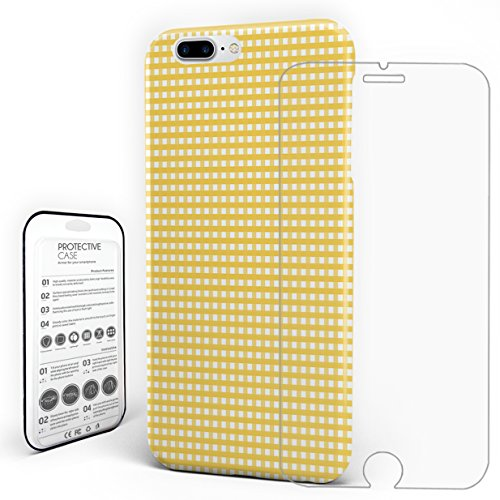 Phone Case White Yellow Buffalo Check Plaid Pattern Shockproof Slim Anti Scratch Hard PC Back Protective Cover for iphone 7 Plus(2016)/iphone 8 Plus(2017) 5.5