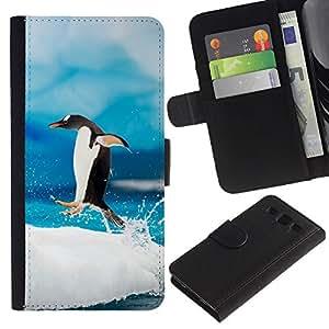 LECELL--Cuero de la tarjeta la carpeta del tirón Smartphone Slots Protección Holder For Samsung Galaxy S3 III I9300 -- Saltar Pingüino --