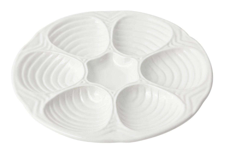 Bon Chef 5017 Aluminum Oyster/Clam Plate, 10-1/2'' Diameter, Sandstone White (Pack of 3)