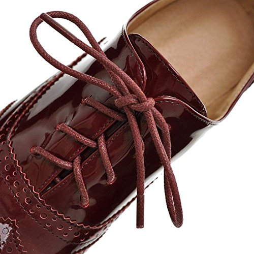 Brogues Women's Patent Leather Loafers Shoes Red up Mid Lace SNIDEL Oxford Wingtip Wine Heels Chunky Oxfords 7wdFngq