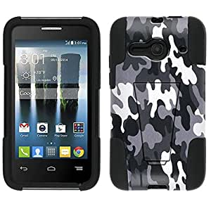 Alcatel One Touch Evolve 2 Hybrid Case Camouflage Black and White 2 Piece Style Silicone Case Cover with Stand for Alcatel One Touch Evolve 2