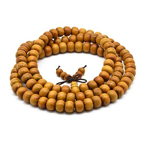 - Zen Dear Unisex Natural Golden Sandalwood Mexican Bocote Wood Mala Prayer Bracelet Link Wrist Necklace Chain Beads (7mm x 8mm 108 Beads)