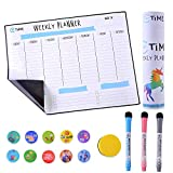 Weekly Dry Erase Board for Fridge: 12x16' Whiteboard with Stain Resistant Technology - Bonus 3 Quality Markers, an Eraser and 10 Magnets - Smart Planner: Magnetic Weekly Calendar for Refrigerator