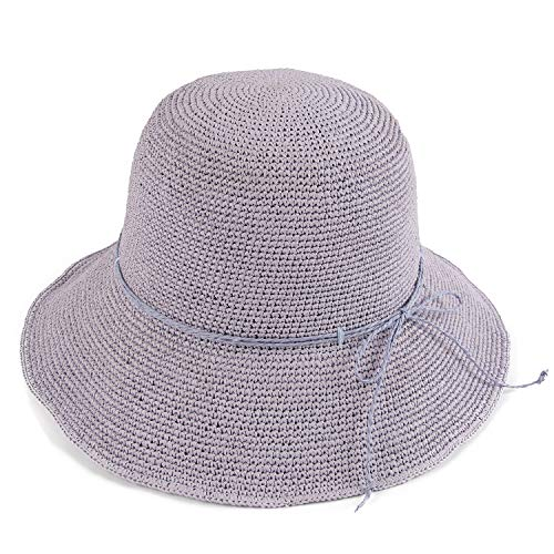 - Melesh Women's Bucket Hats Fashion Womens Summer Beach Sun Straw Hat (Lavender)