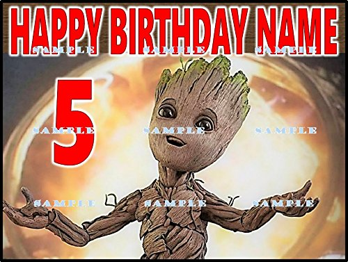 GUARDIANS OF THE GALAXY BABY GROOT : Personalized edible Birthday Party Cake topper premium frosting sheets ()