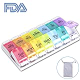 #9: 7 Day Pill Organizer(14 Grid), Push Button Weekly Pill Box Case, Large Compartments for Portable Travel to Hold Pills, Vitamin, Fish Oil, Supplements by Lomin