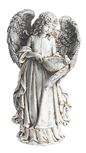 Little Girl Angel 14 x 8 inch Resin Stone Decorative Statue Figurine Birdfeeder (Victorian Man Figurine)