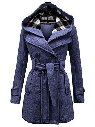 Envy Boutique Women's Military Button Hooded Fleece Belted Jacket Denim Blue (Belted Denim Coat)