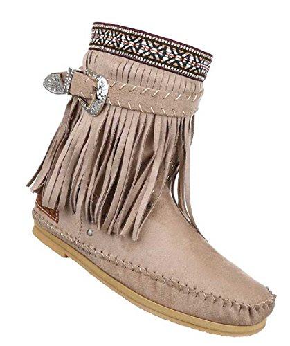 Damen Stiefeletten Schuhe Boots Designer Schlüpfstiefel mit Fransen und Nieten Hellbraun 36 ZZIod8CHy3