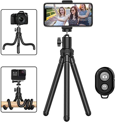 zetong Camera /& Mobile Phone Tripod Stand with Bluetooth Remote and Phone Holder Compatible with Most Phones and DSLR Cameras 57 Phone Tripod